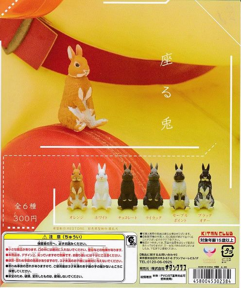 ■座る兎■全6種+POP台紙セット